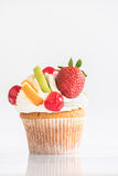 Fresh fruit and cream on cup cake Royalty Free Stock Photography
