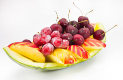 Fresh fruit on creative bowl in  background Stock Photos