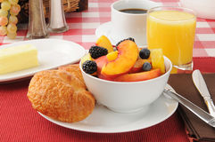 Fresh fruit with croissants Royalty Free Stock Photography