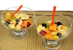 Fresh Fruit Cups. Delicious Fresh Fruit Medley Served in Glass Cups royalty free stock photography