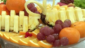 Fresh Fruit dessert on a plate. In a restaurant stock footage