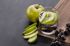 Fresh fruit Flavored infused water mix of apple and grape Stock Photos