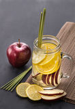 Fresh fruit Flavored infused water mix of Apple, lemon and lemon Royalty Free Stock Photos