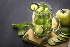 Fresh fruit Flavored infused water mix of Apple, lime and basil Royalty Free Stock Photo