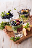Fresh fruit Flavored infused water mix of blueberry, apple and m Stock Photography