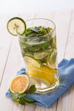 Fresh fruit Flavored infused water mix of citrus and basil Royalty Free Stock Photography
