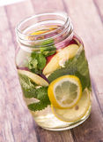 Fresh fruit Flavored infused water mix of lemon, apple and mint Royalty Free Stock Photo
