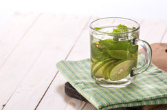 Fresh fruit Flavored infused water mix of lime and basil Royalty Free Stock Photos