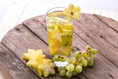 Fresh fruit Flavored infused water mix of starfruit and grap Royalty Free Stock Photo