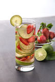 Fresh fruit Flavored infused water mix of strawberry and lime Stock Image