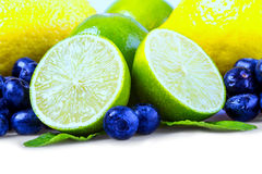 Fresh fruit. S.Sliced green lime,blueberiies.mint leave and yellow leamon Royalty Free Stock Image