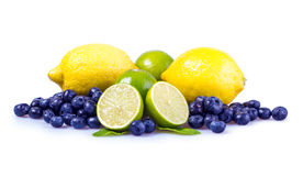 Fresh fruit. S.Sliced green lime,blueberiies.Mint leave and yellow leamon Royalty Free Stock Photography