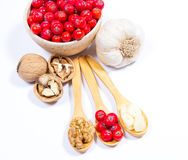 Fresh fruit of hawthorn, garlic and walnuts. The concept of alternative medicine. Royalty Free Stock Images