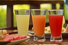 Fresh fruit healthy juices Stock Images