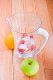 Fresh fruit and ice in a blender Stock Image