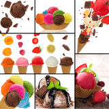 Fresh fruit ice cream collection Royalty Free Stock Photography