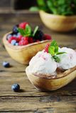 Fresh fruit ice cream with mint on the wooden background. Selective focus royalty free stock photography