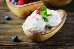 Fresh fruit ice cream with mint on the wooden background. Selective focus royalty free stock images