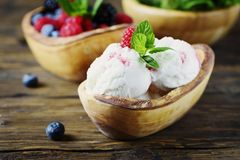 Fresh fruit ice cream with mint on the wooden background. Selective focus royalty free stock image