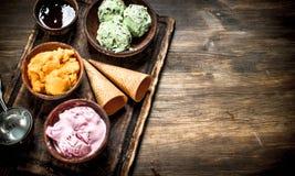 Fresh fruit ice cream with waffle cups. Stock Photo