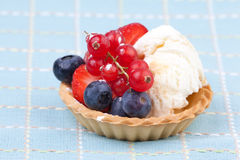 Fresh fruit and icecream tart Stock Photo