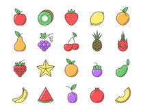 Fresh fruit icon color set Stock Photos