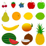 14 Fresh Fruit Icons. A vector illustration of 14 various fruits, ideal for use as icons. The fruits included are Cherry, Strawberry, Blueberry, Red Delicious royalty free illustration