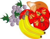 Fresh fruit illustration. Grouping of fresh fruits, that send your taste buds, soaring Royalty Free Stock Photos