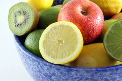 Fresh Fruit In A Blue Bowl Stock Photography