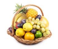 Fresh Fruit In A Wicker Basket Royalty Free Stock Image