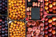 Fresh Fruit In Crates At The Market Stock Images