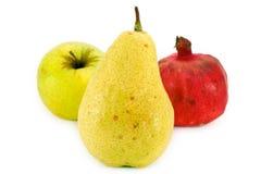 Fresh fruit isolated on white. Fresh fruit: apple, pear, garnet isolated on white background Stock Image