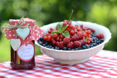 Fresh fruit jam, served in the garden Stock Photos