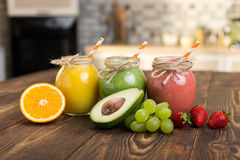 Fresh fruit and jar with smoothie Royalty Free Stock Image