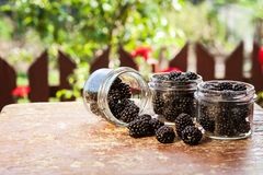 Fresh fruit in a jar on a wooden table Stock Photography