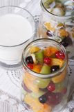 Fresh fruit in a jar and yogurt close up vertical top view Stock Photos