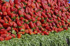 Fresh fruit in Jemma el Fna. Moroccan strawberries. Jemma el Fna market in Marrakesh. Red and delicious strawberries out of the medina royalty free stock photo