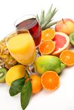 Fresh fruit and juice royalty free stock image