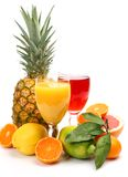 Fresh fruit and juice Royalty Free Stock Images
