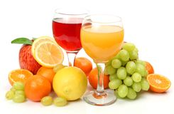 Fresh fruit and juice Stock Images