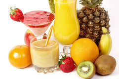 Fresh fruit juice cocktails with vitamin in a glass Royalty Free Stock Photos