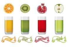 Fresh fruit juice Stock Photos
