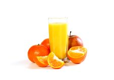 Fresh fruit and juice isolated on white Stock Photography