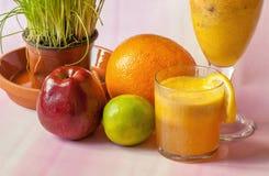 Fresh fruit and juice Royalty Free Stock Photos