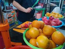 Fresh fruit juice market stall in Jerusalem old town, Israel royalty free stock photography
