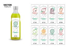 Fresh fruit juice packaging mockup set. Realistic glass bottle with trendy linear style labels. Apple, kiwi, pomegranate, orange, grape, carrot, peach and stock illustration