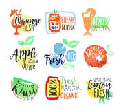 Fresh Fruit Juice Promo Signs Colorful Set Royalty Free Stock Images