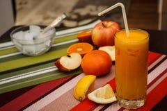 Fresh fruit juice. Refreshment made of fresh fruit Royalty Free Stock Image
