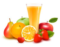 Fresh fruit and juice  Vector Royalty Free Stock Photo
