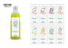 Fresh fruit juice vector packaging mockup set. Realistic glass bottle with trendy linear style labels. Apple, kiwi, pomegranate, orange, grape, carrot, peach Royalty Free Illustration
